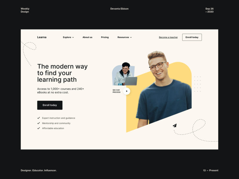 Learna Homepage Exploration training education app school app course design challenge clean ui light theme minimal concept design web design branding photography modern design typography illustration web app learning app learning landing page home page