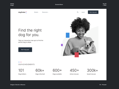 Dogfinder Homepage search product design pet shelter landing page home page stats desktop 2020 trends quiz photography modern design minimal light theme typography squares branding web design dog animal pets