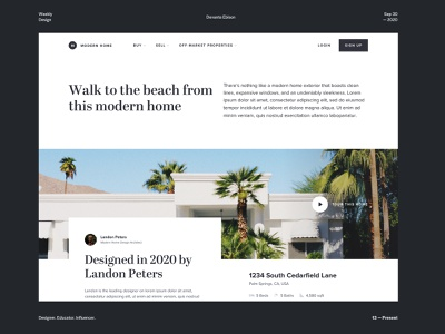 Modern Home Property Page hero desktop property page tour architecture address map real estate header minimal modern design typography web design landing page course grid layout photography house home