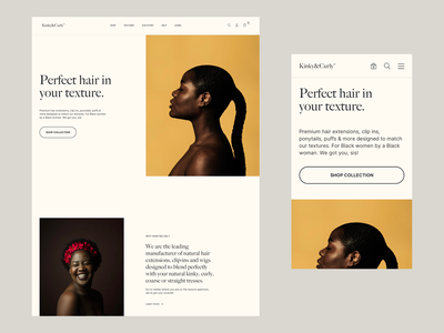 Kinky&Curly Homepage Exploration branding interface clean design search yellow modern design simple concept design photography cart shop ecommerce responsive design mobile typography landing page web design homepage minimal hair