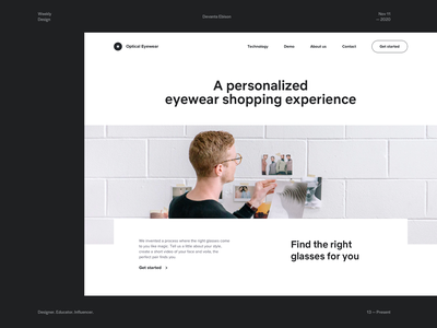Optical Eyewear - Early Hero Explorations web design uiux typography sunglasses photography hero online store modern design minimal layout landing page homepage glasses fashion eyewear ecommerce desktop clean branding shop