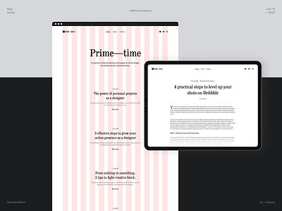 Halftime Academy - Blog Launch grid whitespace blog section design blogging clean user interface article story blog post blog course layout homepage desktop web design modern design minimal typography branding