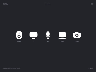 Multimedia Icons product design modern design minimal grid symbols icon design vector iconset microphone camera mic laptop tv speaker iconography icons filled solid icon exploration icons set