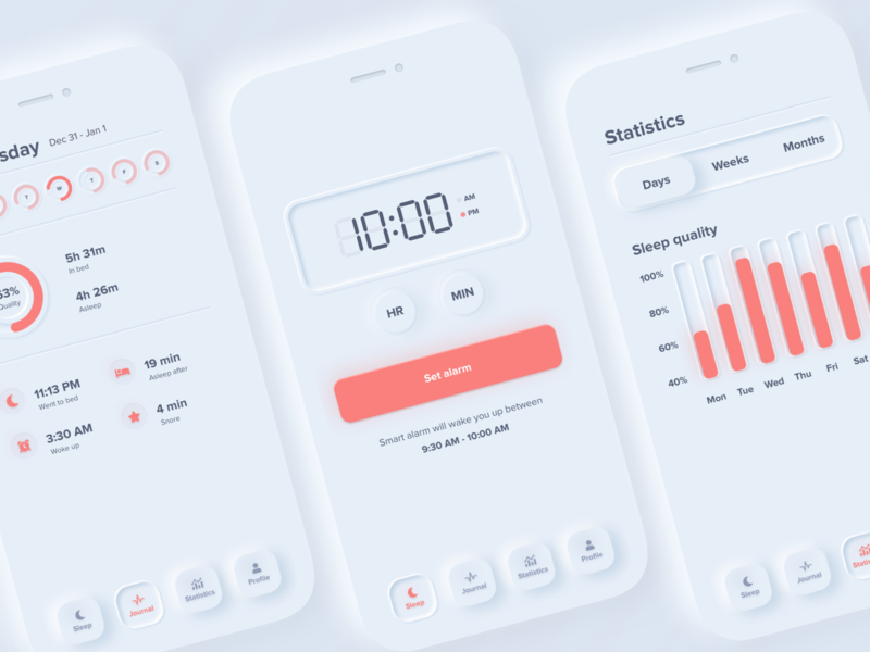 Sleep Cycle App - Neumorphism Redesign skeuomorphism neumorphism activity tracker menu navigation overview profile statistics analytics graph data skeuomorph app color theory typogaphy concept design 2020 trends clock sleep tracker mobile