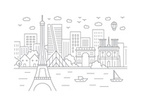 Paris, France - Client City Series Illustration
