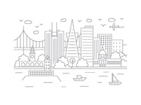 San Francisco, California - Client City Series Illustration