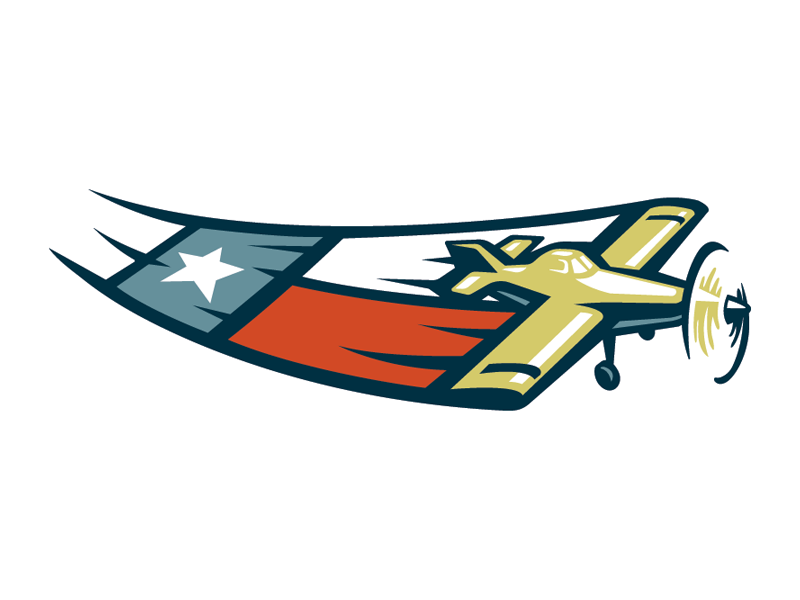 Liberty Flying Service Icon flying agricultural plane blue white red texas logo logo design