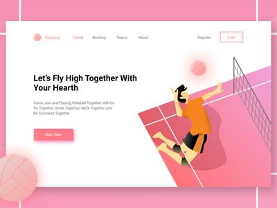 Let's Fly Landing Page flying clean ui ball pink design volleyball fly debutshot debut clean volley landing web illustration