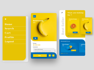 Fruits App branding clean ui navy blue uidesign ui fruity app fruits clean orange lemon banana fruit
