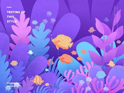 Undersea Illustrator fish submarine practice nosie illustrator design