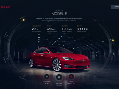 Tesla Design Studio reimagined full screen web visual team consultants agency futuristic scifi automotive tesla hud ui