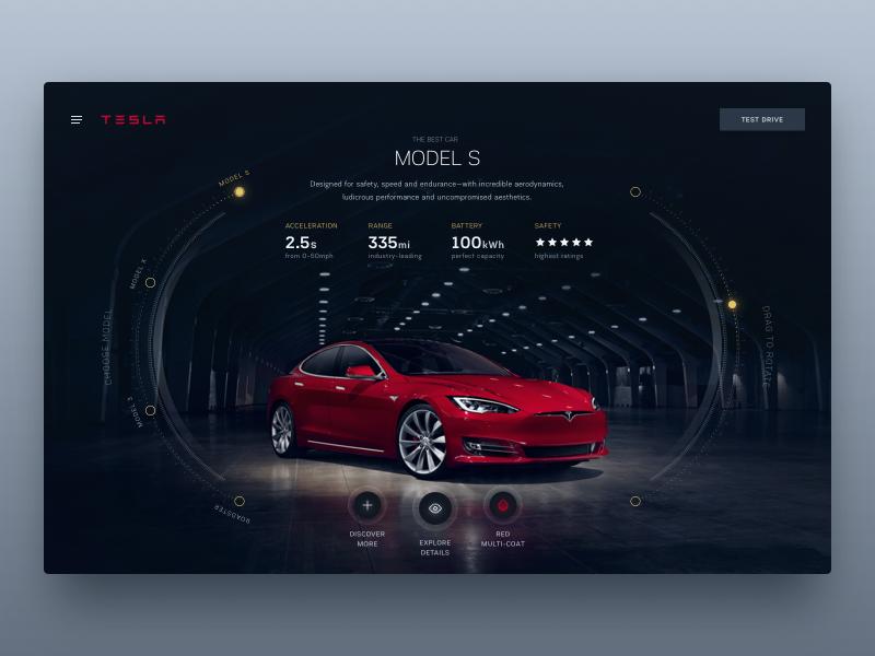 Tesla Design Studio reimagined full screen web visual team consultants agency futuristic scifi automotive tesla hud ui