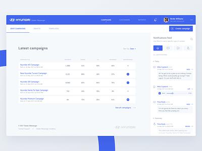 Dealer Messenger - Dashboard visual agency team full screen feed minimal blue light app design ui dashboard