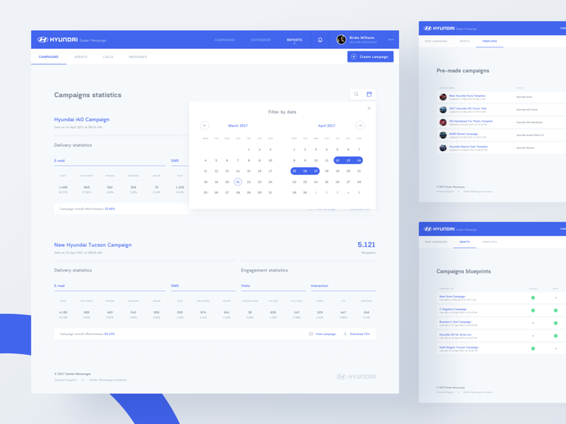 Dealer Messenger - Reports team mobile branding motion icons illustration dashboard calendar data typography product design web design minimalistic clean blue automotive visual ux ui agency
