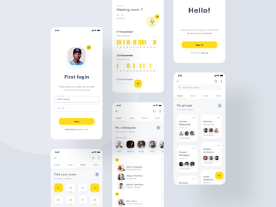 World of Working App case study illustration groups cards schedule visual application product design clean yellow ios mobile app ux ui