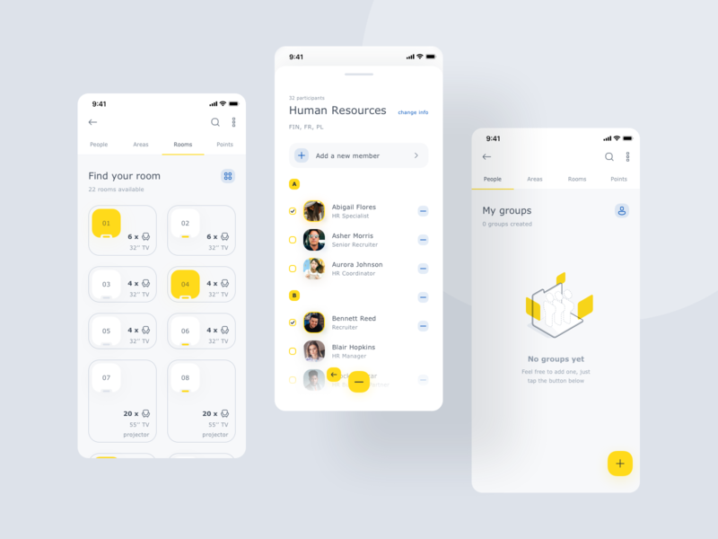 World of Working App II user list empty state groups clean yellow visual mobile app ios illustration product design ux ui