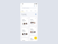 World of Working App - Navigation after effects animation case study mobile app yellow clean groups user list cards application ios navigation ux ui product design