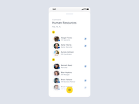 World of Working App - Edit Group case study after effects application user list yellow cards groups illustration clean animation ux ui product design ios mobile ui