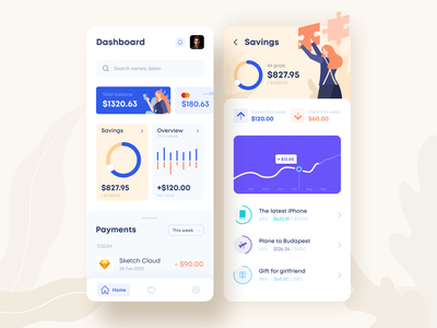 Mobile banking and savings app financial dashboard clean colorful progress goals illustration balance wallet statistic credit card payments money budget design financial ui ux fintech savings banking