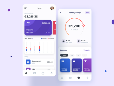 Mobile Banking and Budgeting App finance wallet balance tracker spending startup fintech bank card chart dashboard cards interface ux modern budget app ui banking mobile