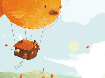 Fish WIP painting fish balloon sky