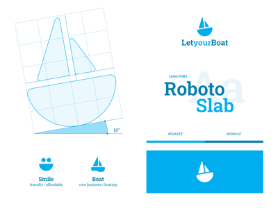 Let Your Boat smile friendly marine yacht sea boat logo boating boat logo identity design visual design visual identity logo design branding brand identity identity branding brand design grid concept