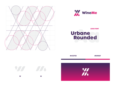 Wine Me digital platform app wine logo m w monogram wm wine logo identity design visual design visual identity logo design branding brand identity identity branding brand design grid concept