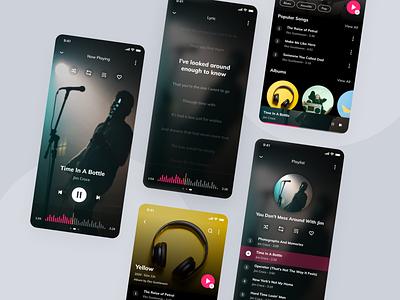 Music App Concept now playing mobile app playlist lyrics lyric music application music app design music app ui music player music player ui music app music