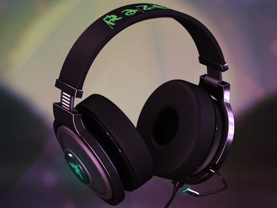 Razer Kraken 7.1 Chroma headphones — 3D visualisation