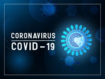 Coronavirys concept blue neon advertising banner ux design vector ui illustration news epidemic pandemic covid19 virus coronavirus