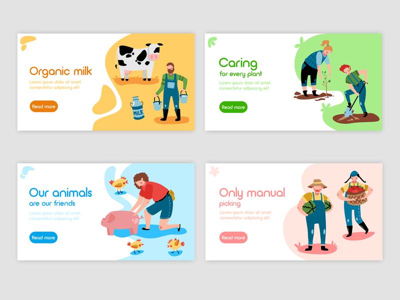 ECO Farm banners plants fruits internet banner farmer garden cow pig ecology eco farm character character design ui flat colors logo color illustrator illustration