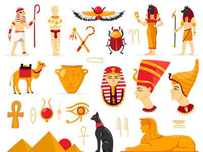 Egypt Illustrations was sceptre ankh scarab udjat eye of horus bast anubis sarcophagus camel set ra pantheon sphinx pyramid mummy nefertiti tutankhamen pharaoh egypt illustration