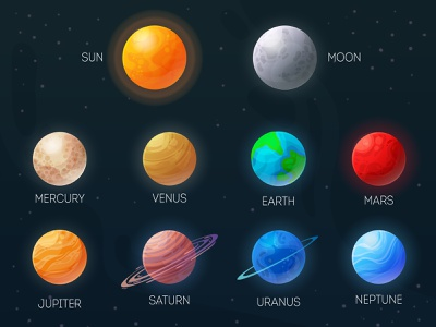 Planets in vector universe bulk volume solar system neptune uranus saturn jupiter mars venus mercury moon sun earth space ball planet design colors illustration