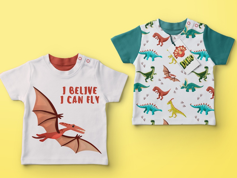 Dino T-shirts! jurassic fossil paleontology history vectorart exapmle mock-up t-shirt for kids pattern pterodactyl dinosaur dino illustration