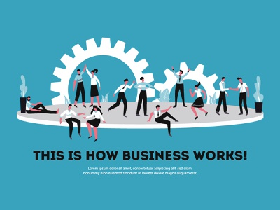 This is how business works! lorem ipsum business character design flat ui illustration
