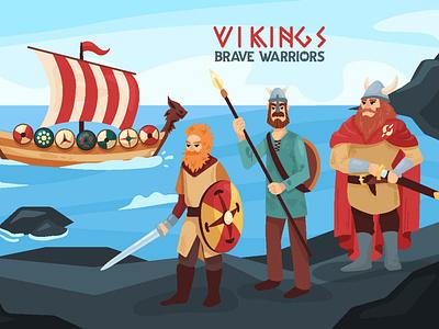 Vikings - brave warriors! character landscapes drakkar ships boat warrior scandinavia viking character design illustration