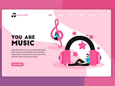 MYou ar music! banner design music app headphones treble clef banner music color flat illustrator branding vector ui design illustration