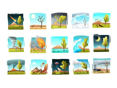 The story of one tree earthquake meteorite fire tornado volcano disaster natural disaster cataclysm tree ufo nature vector character illustrator design illustration