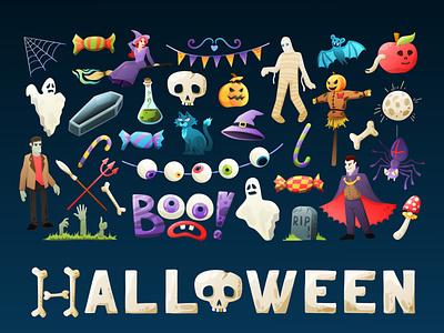 Happy halloween! bones frankenstein vampire spider mummy poison cat skull eyeball spooky jack witch zombie boo pumpkin trick or treat set halloween character design illustration