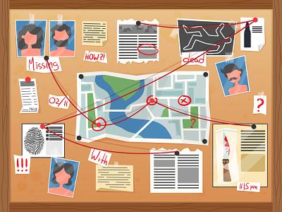Detective board - make a true desk retro missing police murder investigation killer crime detective true detective board character illustrator design illustration