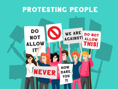 Protesting people