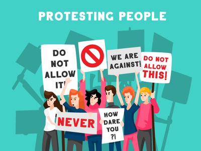 Protesting people poster rally angry do not allow how dare you never against revolution protest boy girl character illustrator character design illustration