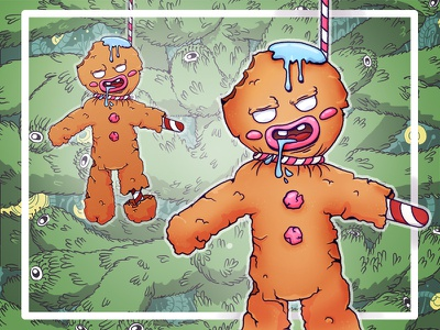 Gingerbread Man Depression colors character illustrator character design creepy scary toy cookie sweets joke hanged suicide celebrate new year christmas gingerbread man