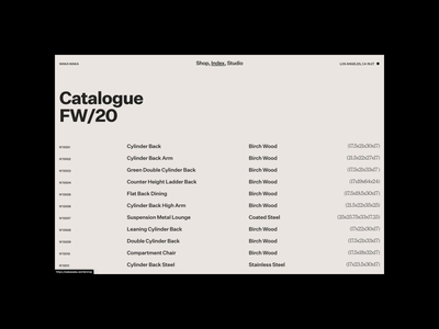 Waka Waka, Index motion ui design typography grid chair furniture list