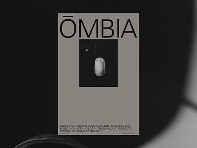 ŌMBIA studio pottery ceramics portfolio ui design typography logo