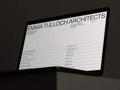 EMMA TULLOCH ARCHITECTS interior furniture building architectural architect grid design hero website motion design typography portfolio grid architecture