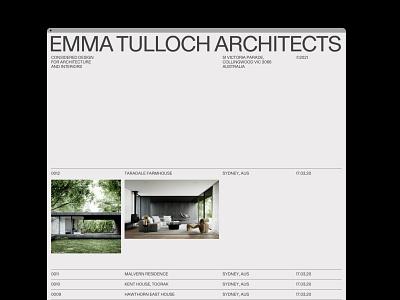 EMMA TULLOCH ARCHITECTS branding building architectural architect architecture grid ui portfolio design typography