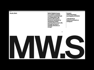 MOUTHWASH.Studio home gif hero ui website motion grid portfolio design typography