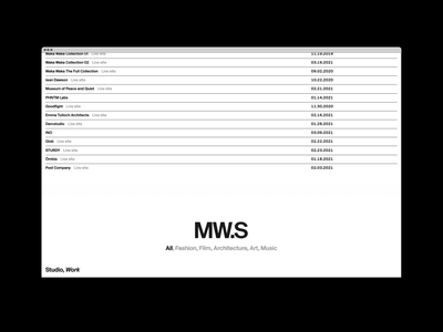 MW.S List home gif hero ui website motion grid portfolio design typography
