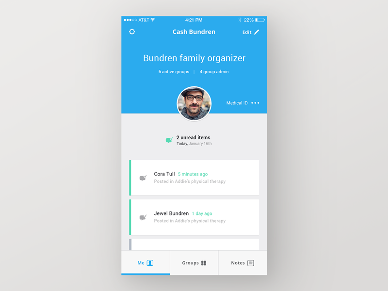 Spectra care app me tab by ben mingo dribbble for Who can design an app for me
